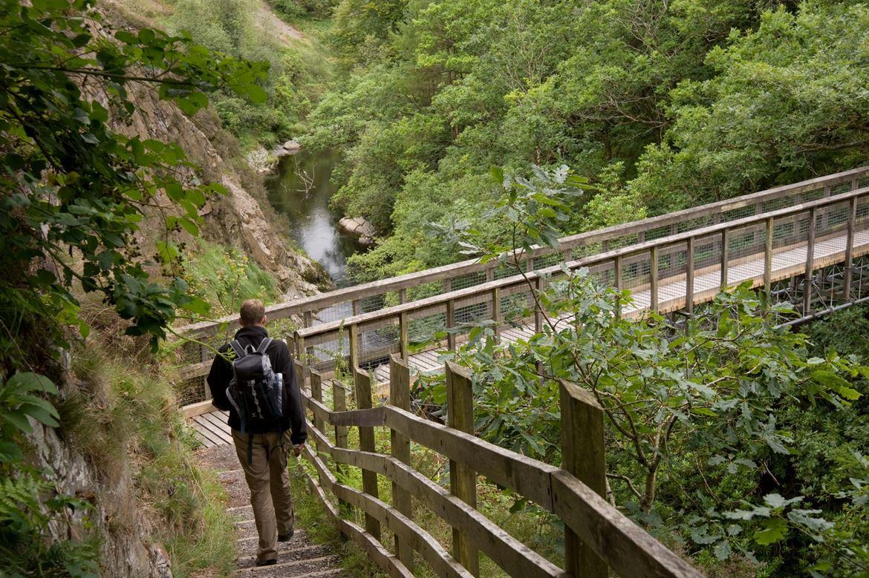 Crossing the miner's bridge at Maenarthur