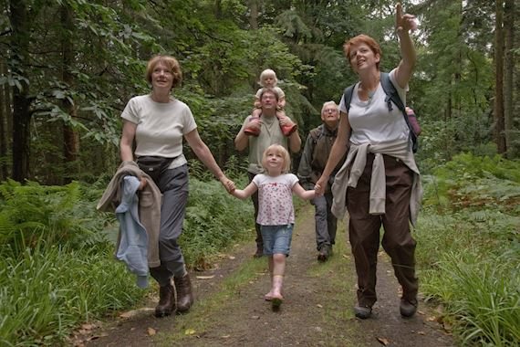 Family group walking from Sawbench