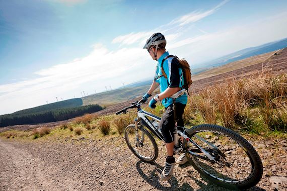 Mountain biker high up at Afan