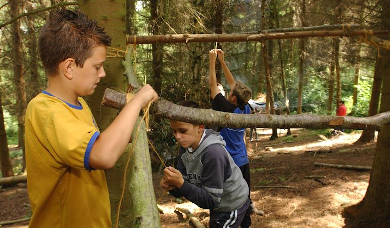Children enjoying the woodlands