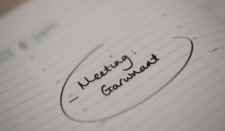 a meeting at Garwnant in a diary