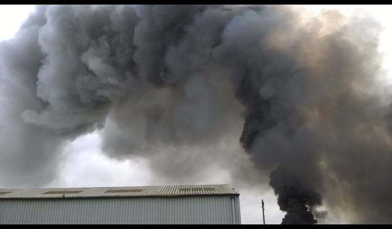Smoke coming from the recycling plant fire on the Llandow Trading Estate