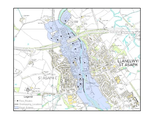 Map 1 - Flood extents, flow routes and overtopping locations