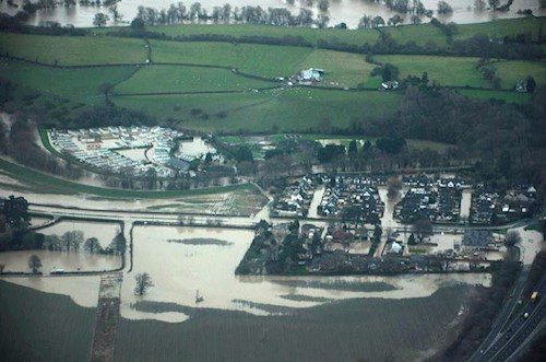 Aerial view of the extent downstream of A55