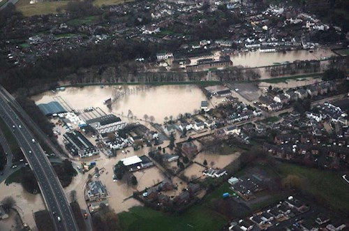 Aerial view of the extent upstream of the A55