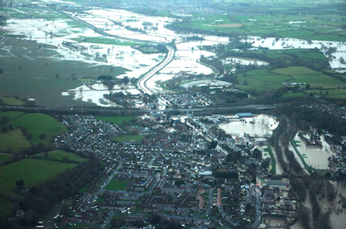 Aerial view of the broad overview looking downstream