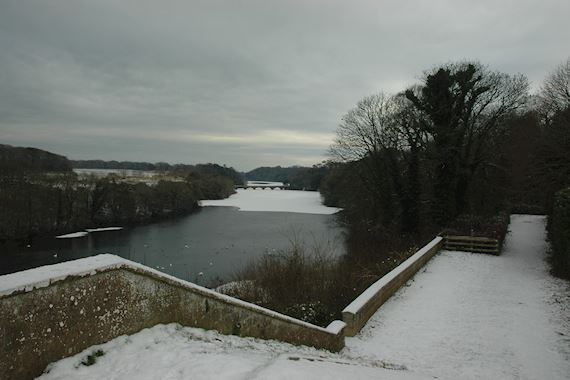 View of the icy river at Stackpole