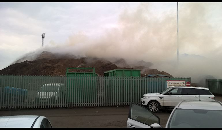Newport wood recycling facility that is smoking