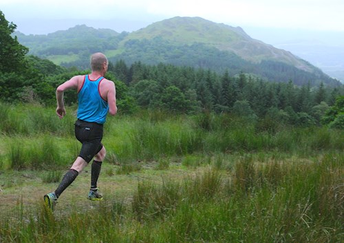 Man running through the countryside at Coed y Brenin Forest Park