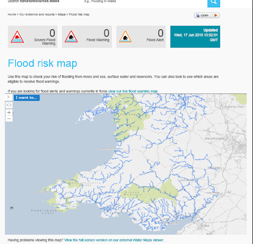 Flood risk map screenshot