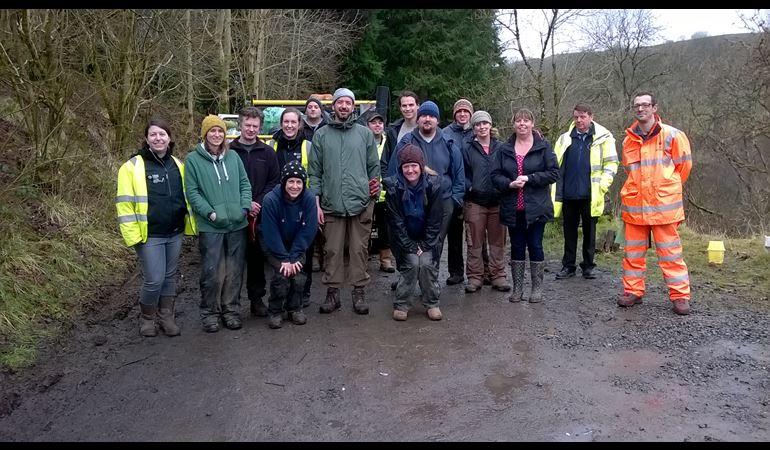 NRW clean-up team in Cwm Taf Fechan