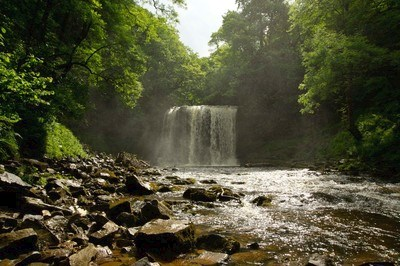 View of a waterfall at Gwaun Hepste