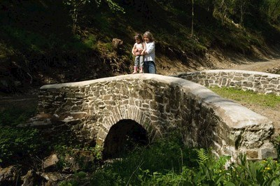 Mother and child on a bridge at Halfway