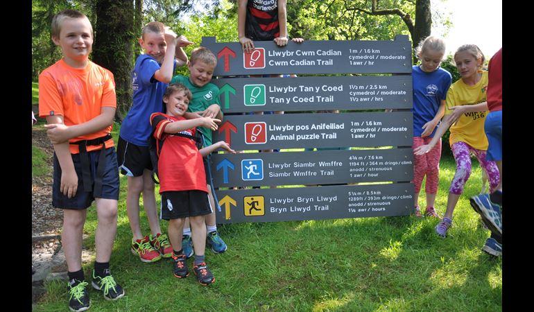 Local children open new running trails in the Dyfi forest