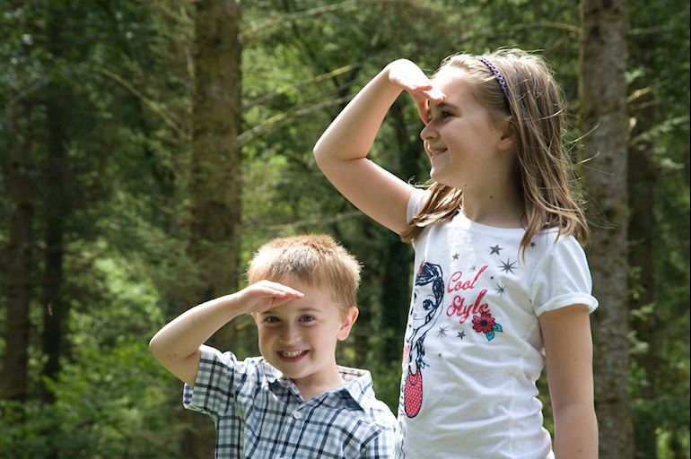 Two children with their hand hand over their eyes