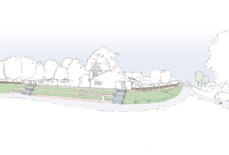 A artist impression of Shaftesbury Park showing people sitting on grassed terraces on the embankment with trees and houses in the background