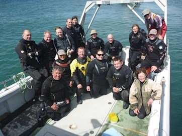 Volunteer divers at Skomer