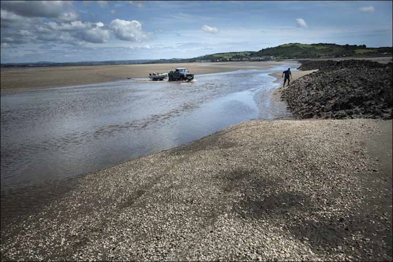 an inlet at low tide