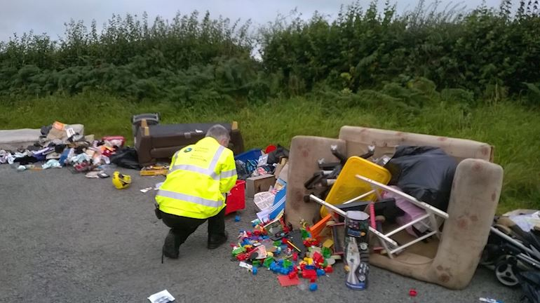 NRW staff investigating fly tipping mess