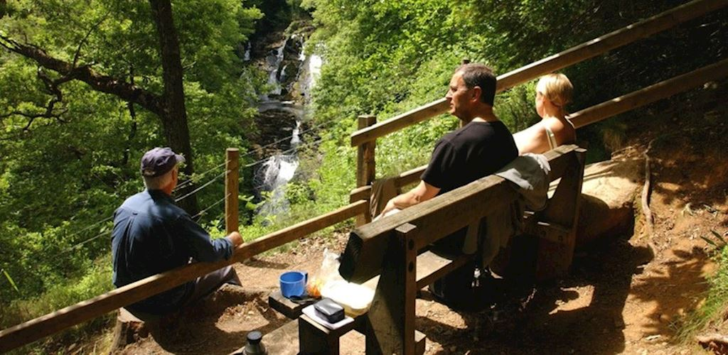 Visitors at Swallow Falls viewpoint at Ty'n Llwyn