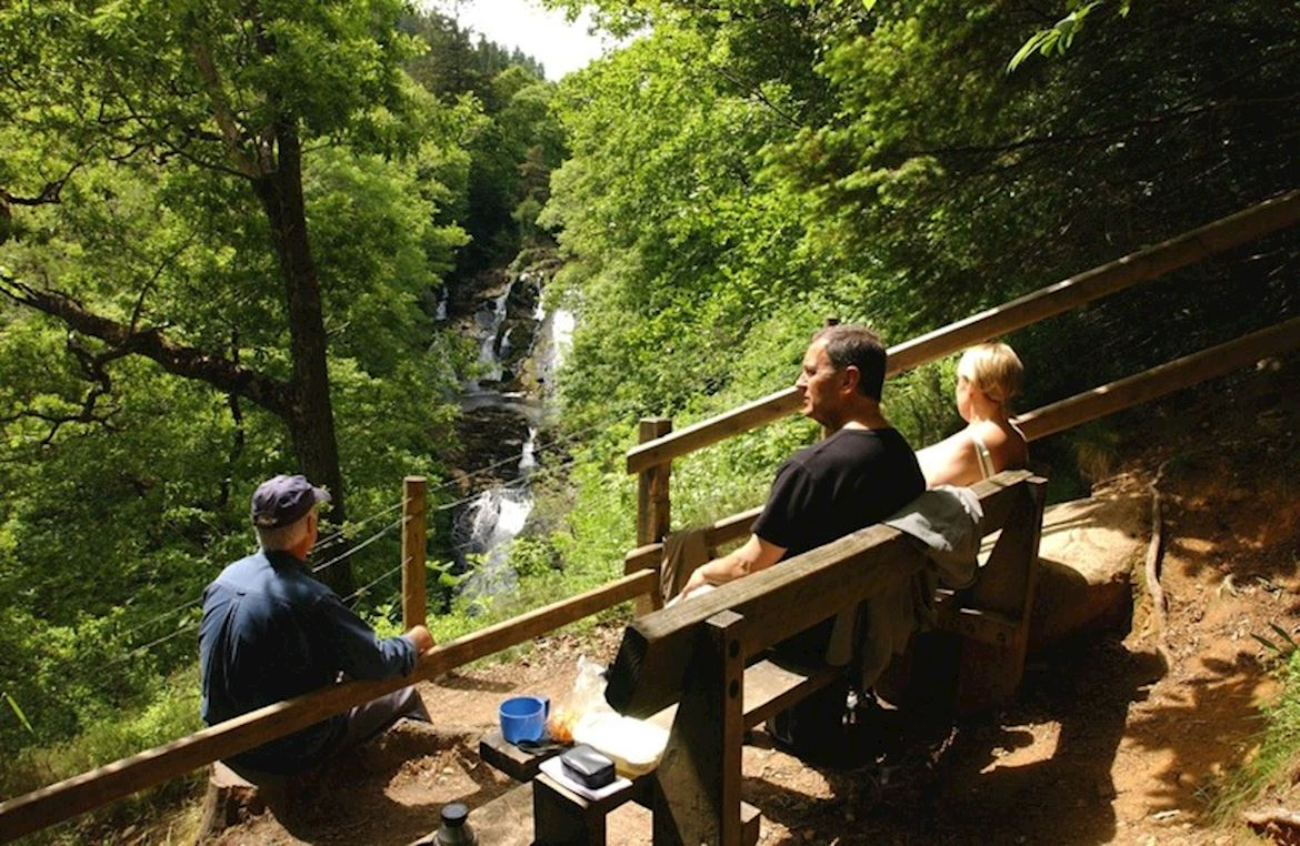 Visitors at Swallow Falls viewpoint at Ty'n Llwyn