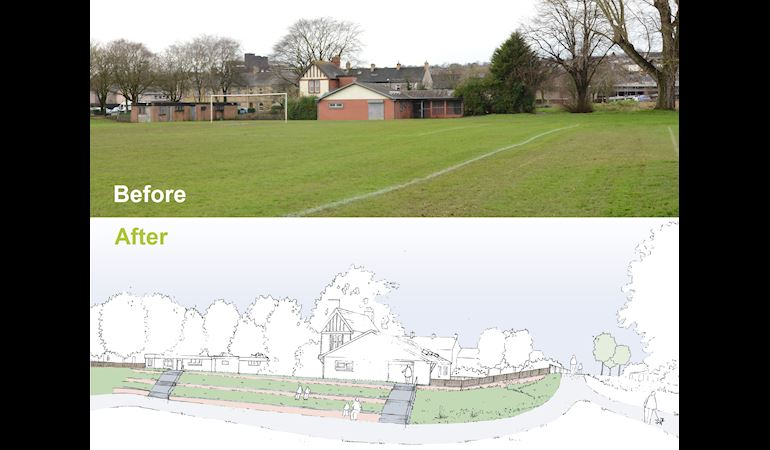 A before image showing a pavillion behind playing field with the river on the right. After artist drawing showing a flood embankment with people sitting on grassed terraces.