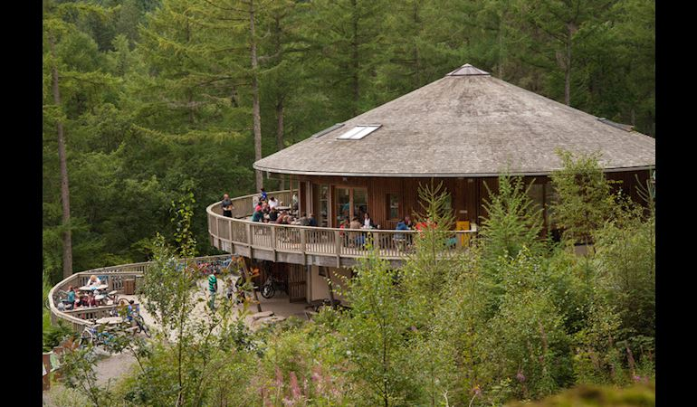 Coed y Brenin visitor centre surrounded by trees