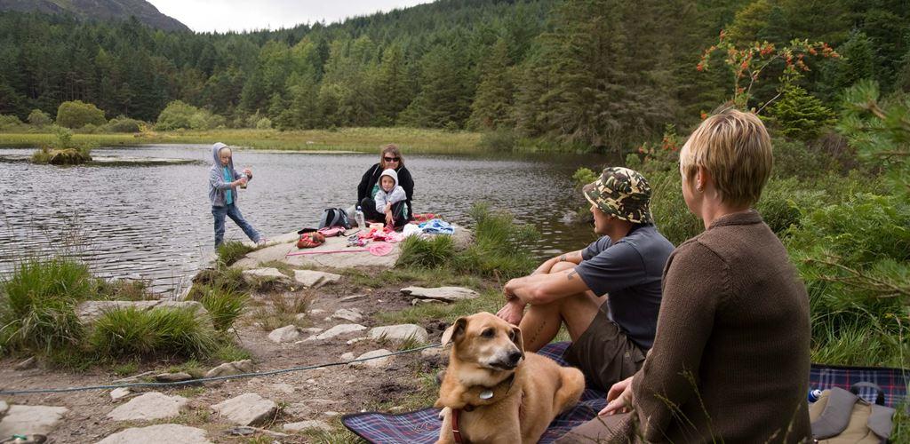 Family enjoying the lakeside at Beddgelert Forest