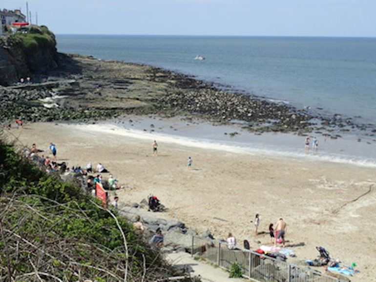 View of the beach and sea in New Quay