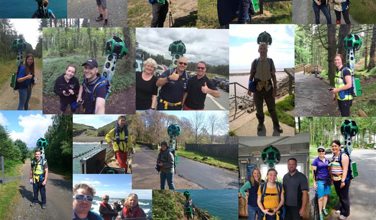 Collage of NRW staff using the Street View Trekker