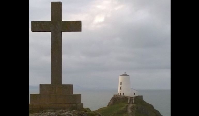View of a cross at Newborough National Nature Reserve, North West Wales