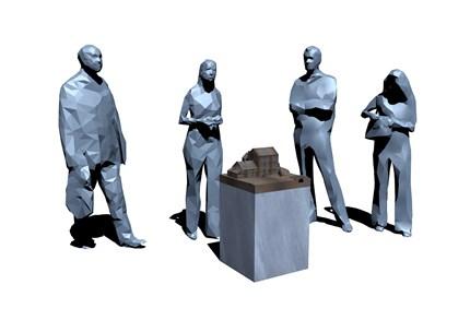 Art figures standing around an art display