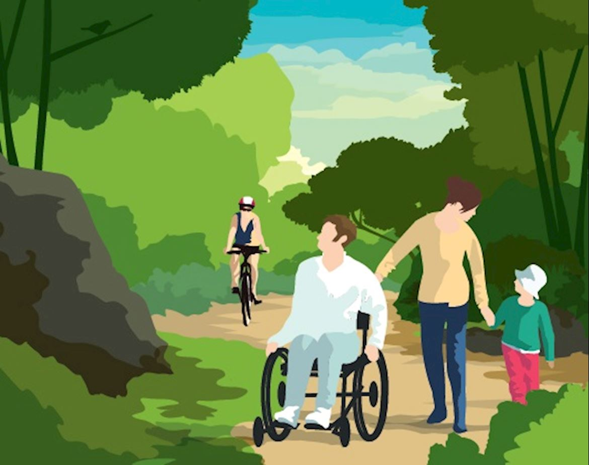 People walking, cycling and in a wheelchair