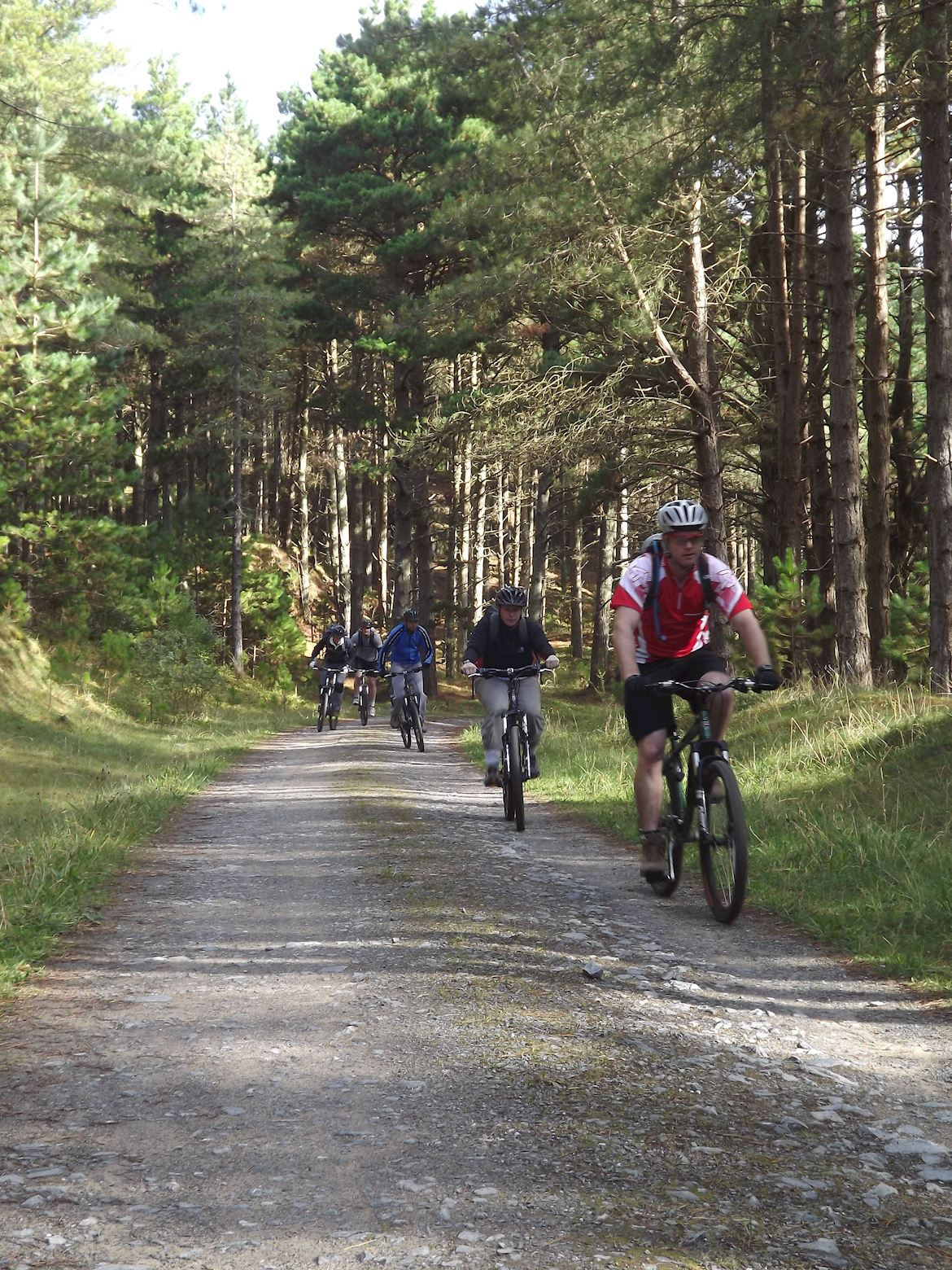 Cyclist cycling through Newborough