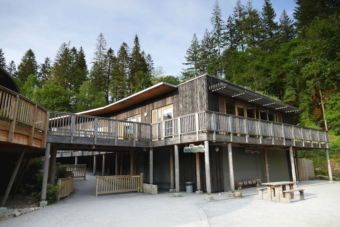 View of the Beics Brenin building at Coed y Brenin Forest Park