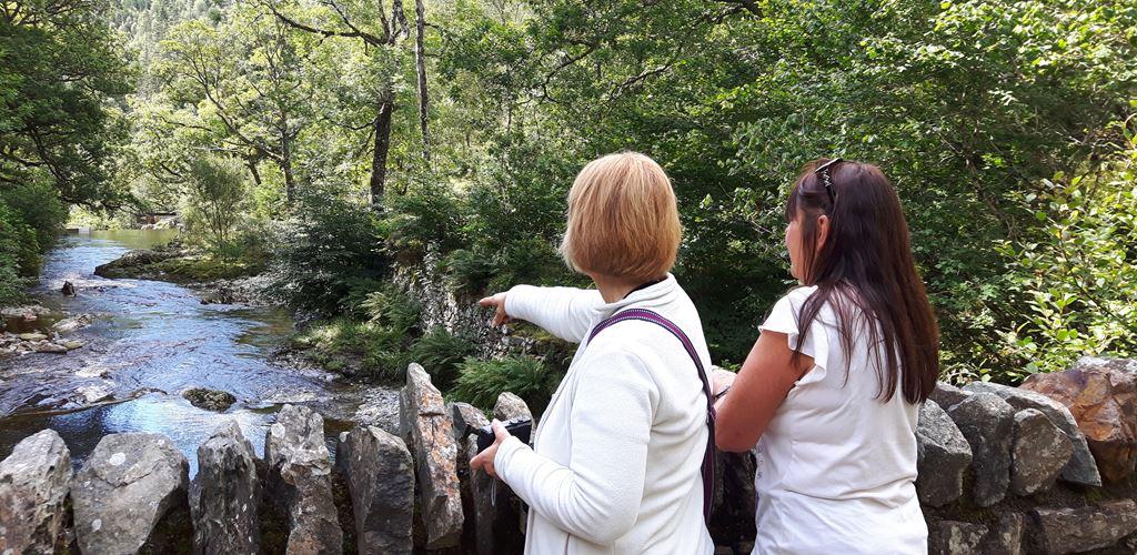 Two women overlooking a stream at Tyddyn Gwladys, Coed y Brenin Forest Park