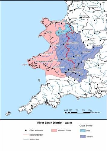 Map ardal basn afon Cymru
