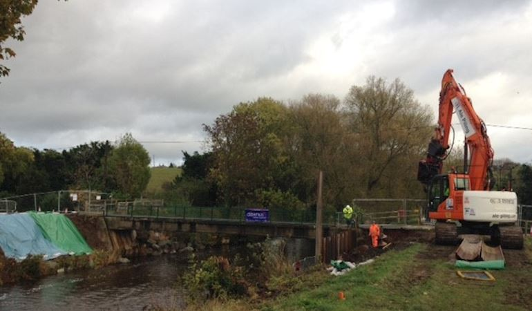 Construction on a river at St Asaph