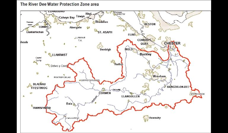 Map of the river Dee water protection zone area