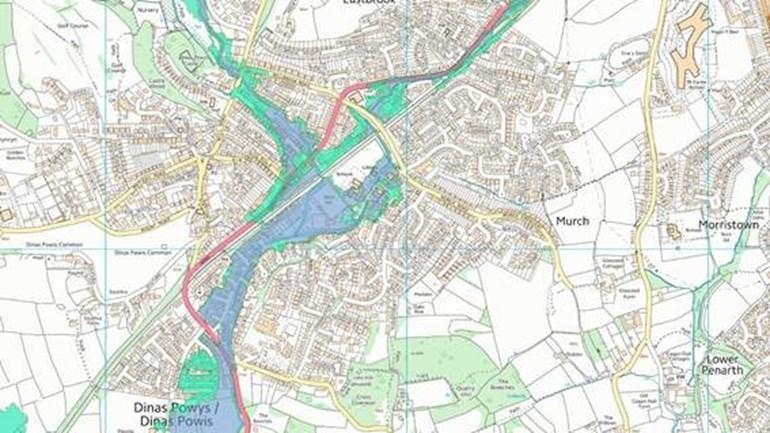 Map yn dangos ardaloedd wedi'u lliwio gyda rish llifogydd gwahanol yn Ninas Powys