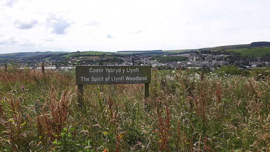 View of Bridgend with the sign The Spirit of Llynfi Woodland on display