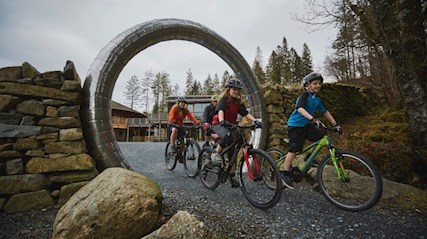 Group of people cycling