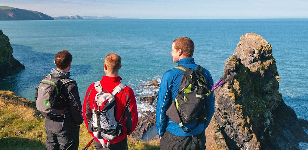 Three men looking out to sea from a cliff