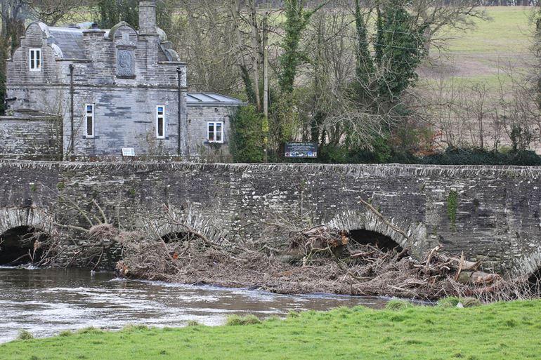 Debris at a road bridge in Llechryd, Ceredigion