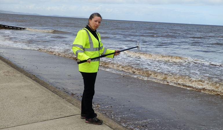 Testing water quality at Rhyl beach
