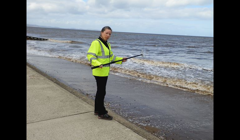 Testing water quality at Rhyl beach