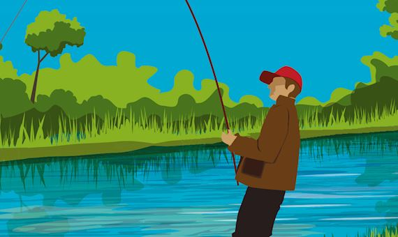 A person fishing