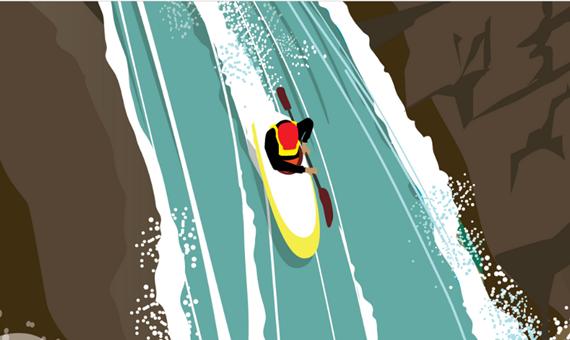 Kayak in a waterfall