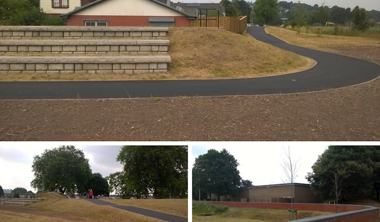 Images of the new flood embankment and seated terraces, a new playing area and a flood wall