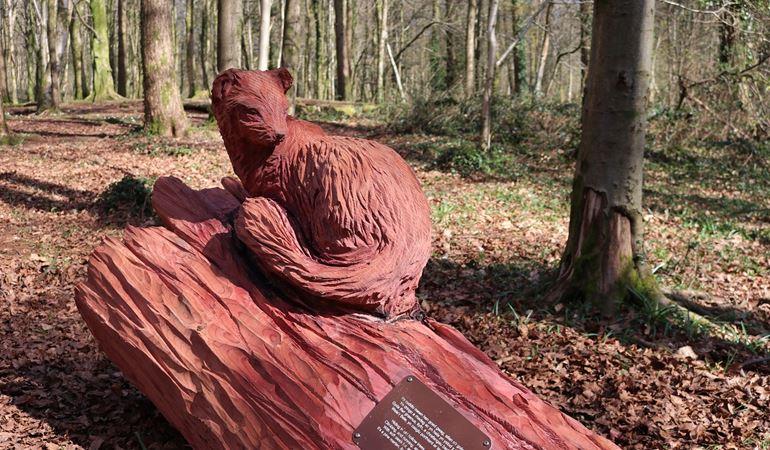 A sculpture at Fforest Fawr